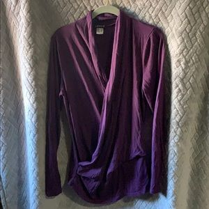 Long sleeve wrap front blouse